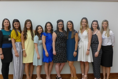 Nutritional Services Director Ann McDaniel-Hall; graduates Brittney Rodriguez, Catherine Thomas, Brooke Bernier, Brenna Breaux, Ashley Eusea, Darien Loup, Allison Junca, Caitlin Bascle; and Dietetic Internship Director Leslie Ballard. Not pictured is Jacob Lalanne
